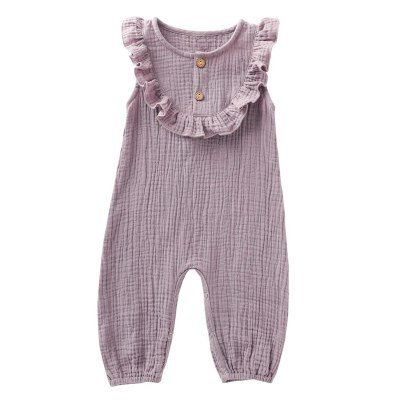 Hot Sale Newborn Infant Baby Girl Clothes Solid Button Cotton Linen Romper Jumpsuit Outfits Toddler Rompers