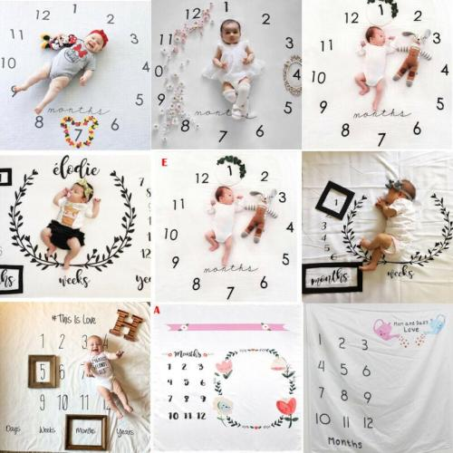 Baby Blanket Milestone Photography Newborn Baby Blanket Monthly Flowers Numbers Photo Prop