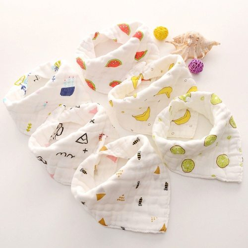 Newborn Baby Cartoon Printing Cotton Gauze Bib Baby Saliva  Towel Baby Towel