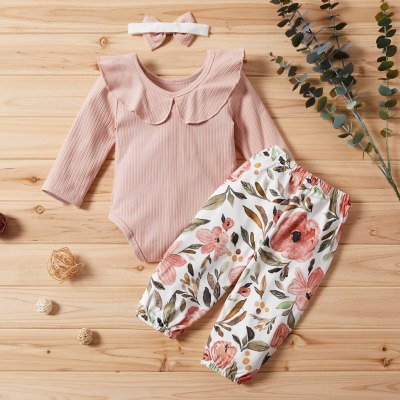 Fashion hot Children set Newborn Infant Baby Girls Solid Frill Romper+Floral Print Pants+Headband Outfit