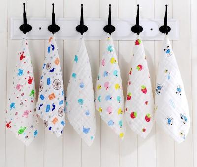 100% Cotton baby towel Gauze Baby Face Towel Infant Cartoon Face Hand Bathing Towel Bibs Feeding Square handkerchief