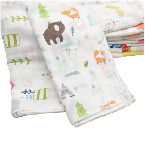 10PCS Baby Feeding Towel Teddy Bear Bunny Dot Chart Printed Children Small Handkerchief