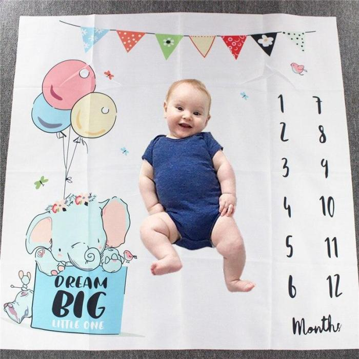 CAN Customize Baby Blanket Newborn Swaddle Stroller Bedding Wrap Photo Background Cloth Monthly Growth Number Photography Props