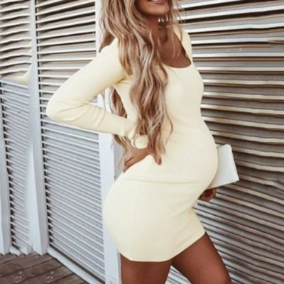 Maternity Dresses Women Pregnant O-Neck Long Sleeve Solid High Elastic Soft Mini Dress