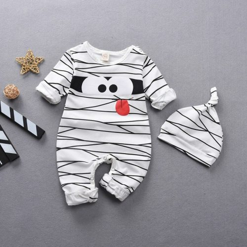 Hot baby boy clothes Newborn Infant Baby Girls Boys Cartoon Stripe Romper+Hat Outfits Costume Set