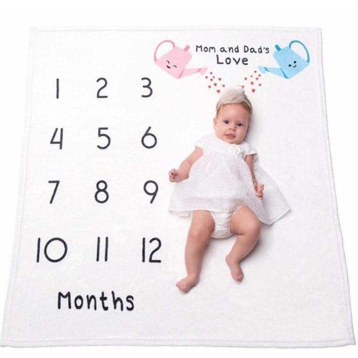 Baby Milestone Blanket Photography Background Props For Newborn Swaddle Wraps Toddler Super Soft Flannel Fleece Bath Towel