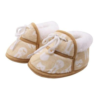 Cute Baby Shoes Spring Warm Soft Baby Retro Printing Shoes Cotton Padded Infant Baby Boys Girls Soft Boots 6-12M 5 Styles