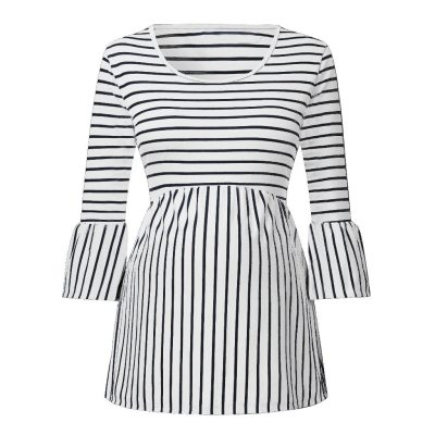 New maternity Blouse Women Pregnant Maternity O-Neck 3/4 Sleeve Pagoda Stripe Blouse Tops