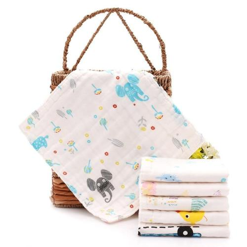 100% Cotton baby towel Gauze Baby Face Towel Infant Cartoon Face Hand Bathing Towel Bibs Feeding Square handkerchief