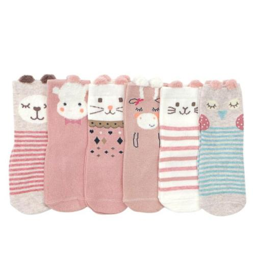 6 Pair/Set Autumn Newborn Warm Socks Cute Cartoon 100% Cotton Baby Socks No-slip Infant Cotton Soft Socks