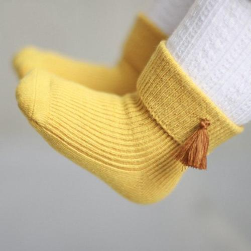 Newborn Cute Boots Solid Warm Toddler Socks Baby Girl Boy Anti-slip Socks Tassel Belt Boots For 0-18M