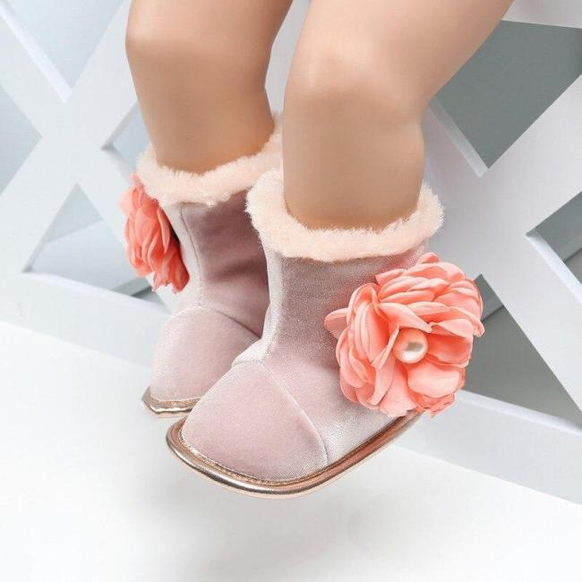 Infant Newborn Baby Boots Toddler Boy Girl Soft Sole Flower Crib Shoes Warm Anti-slip Boots