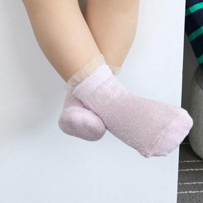Children Socks Girls Cotton Gold Silver Flashing Socks Sweet Net Yarn Lace Socks 0-3T