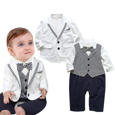 New Style Boys Clothes summer fashion Pattern Boy Suit Butterfly Bow Tie Knot Sleeve One-Piece Garment Children's suit