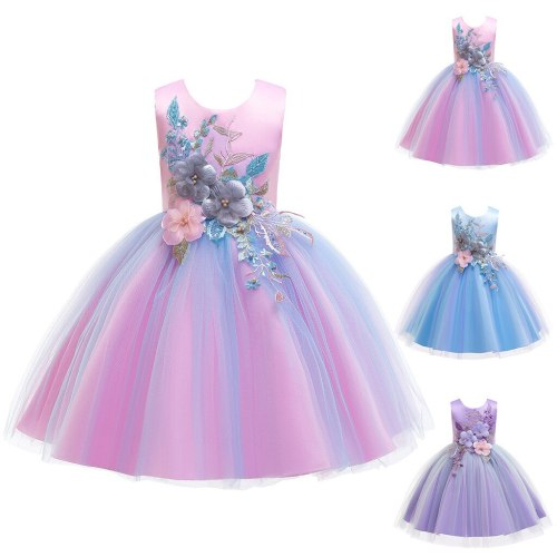 Fashion girls dress Floral Baby Girl Princess Bridesmaid Pageant Gown Birthday Party Wedding Dress