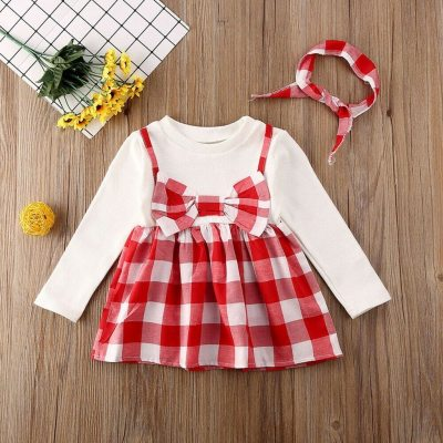 Baby Long Sleeve Plaid Print Dress+Headband Set new Girls Long Sleeve Plaid Princess Party Dress+Headbands Outfit