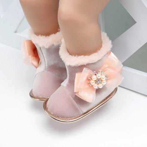 Winter Baby Snow Boots Kids Flock Soft Bottom With Cute Flower Moccasins Boots Newborn Baby Toddler Super Warm