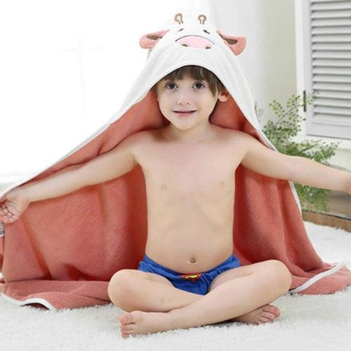 Bathrobe Pure Cotton Kids Cloak Bath  Fleece Hooded Blanket Newborn Baby Hooded Towel