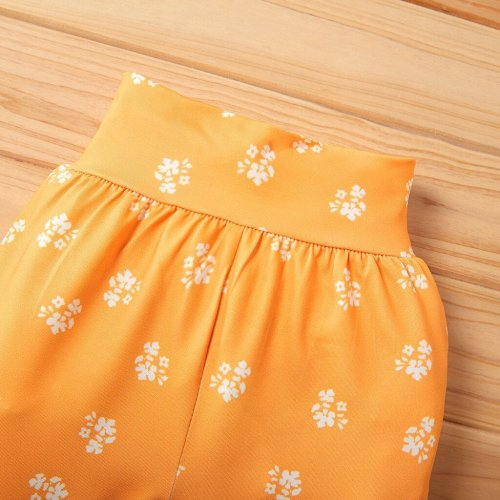 New toddler girl clothes Tops fresh Bow-knot Floral Pants Headbands Baby Shower Set