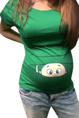 Maternity Clothes Women Maternity Short Sleeve Cute Cartoon Print Shirt Pregnant Cartoon Graphic Tops