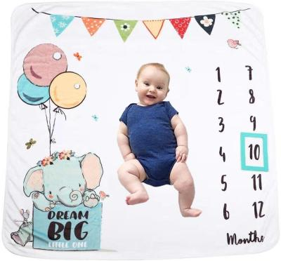 Baby Milestone Blanket Soft Flannel Fleece Shower Swaddle Wrap Infant Bath Towel Newborns Monthly Backdrop Photography Props