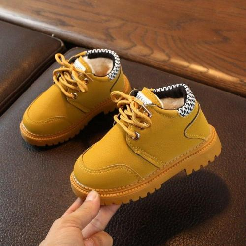 Plus velvet Leather Boots Baby Boys Lace-Up Shoes Anti-slip Walking Shoe Super Warm for 21-30