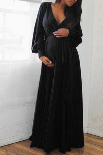 Fashion Maternity Dresses Long Sleeve Women Pregnant Maternity V-Neck Solid Ruffles Frenulum Sexy Dress