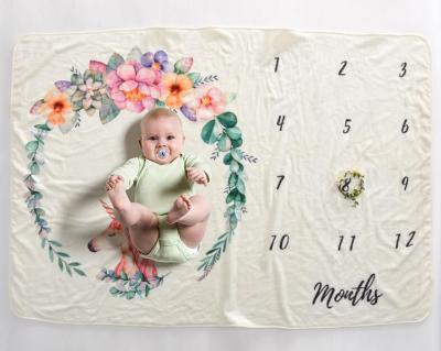 Baby Milestone Blanket Photography Prop Flannel Monthly Background Cloth Newborn Soft Bedding Swaddle Wraps Toddler Bath Towel