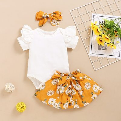 Fashion baby girl clothes summer Infant Baby Girl Solid Romper+Sunflower Print Skirts+Headbands Outfits