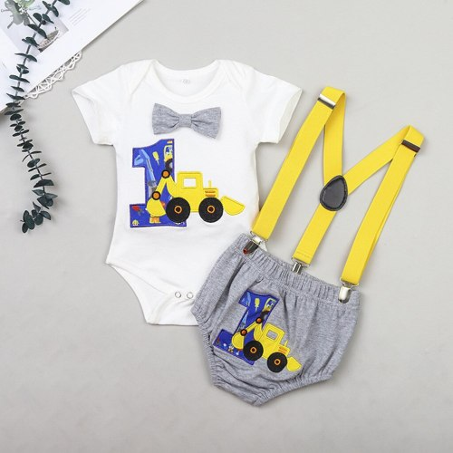 Newborn Baby  Clothes Gentleman  Birthday Romper Straps Shorts Outfits Cartoon Print Sets