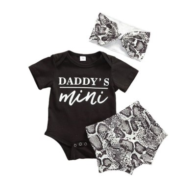 Newborn baby girl clothes Boys Short Sleeve Letter DADDY'S MINI Print Romper Shorts Headband Outfits