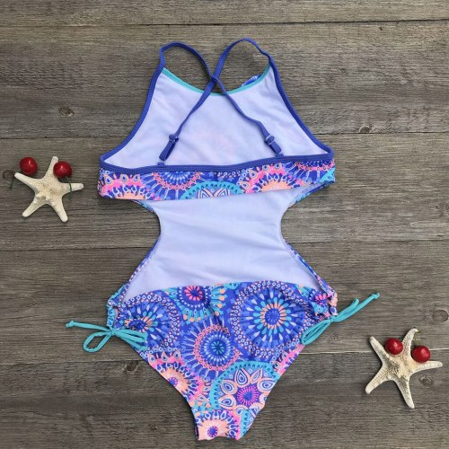 Fashion summer Girls  Print Africa Style One-piece Swimsuit