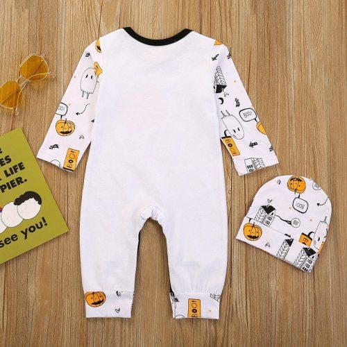 2pcs Baby Girls Boys Children Bodysuit Cartoon Halloween Pumpkin Clothes Set Infant Romper Hats Outfits