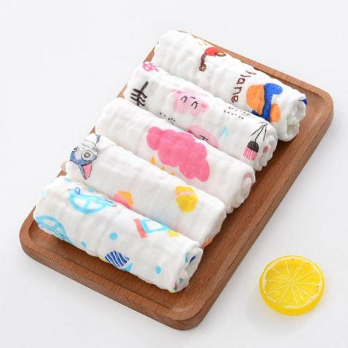 5 Pcs Baby Muslin Washcloth Cotton Infant Face Towel Newborn Handkerchief