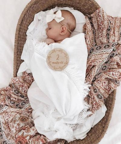 2PCS Newborn Baby Swaddles Toddler Girls Boys Wrap Stroller Cover Blankets Bath Gauze Wrap Tassel Sleeping Bag+ Bow Headband Set