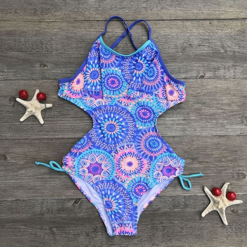 Fashion summer Girls swimwear Teen Children Girls Print Africa Style One-piece Swimsuit Beach Swimwear