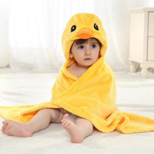 Soft Cartoon Hooded Baby Bathrobe Cute Animal Babies Blanket Square Hooded Bath Wrap Swaddle Newborn Bathrobe Cloak Baby Towel