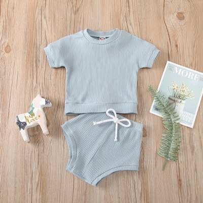 Casual Toddler Newborn Clothing Set Solid Color Ribbed Knitted T-shirt+Shorts Suits
