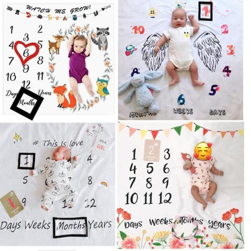 27 styles Baby Milestone Blanket Creative Cartoon Print Backdrop Cloth Photography Props Newborns Monthly Commemorative Gift