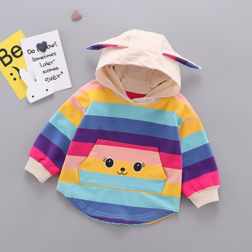 Trendy Fall Sweatshirt Kids Infant Baby Girls Ranibow 3D Rabbite Ear Print Hooded Pullover Top Sweatshirts