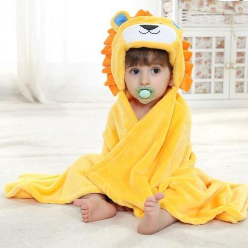 Soft Cartoon Hooded Baby Bathrobe Cute Animal Babies Blanket Square Hooded Bath Wrap Swaddle Newborn Bathrobe Cloak Baby Towel