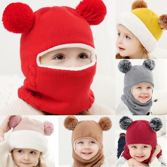 Fashion Children warm hat Kid Baby Boy Girl Hooded scarf Caps Hat Winter Warm Knit Flap Cap