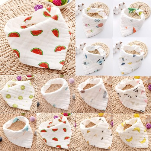 Newborn Baby Cartoon Printing Cotton Gauze Bib Baby Saliva  Towel Baby Towel