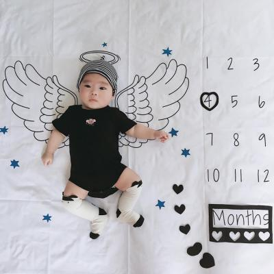 2020 Newborn Baby Milestone Blanket Infant Angel Wings Background Cloth Monthly Growth Number Shooting Photography Props