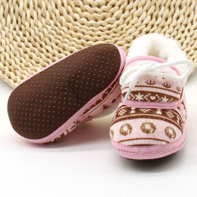 Cute Baby Boots Shoes Spring Warm Soft Baby Retro Printing Shoes Cotton Padded Infant Baby Boys Girls Soft Boots 6-12M