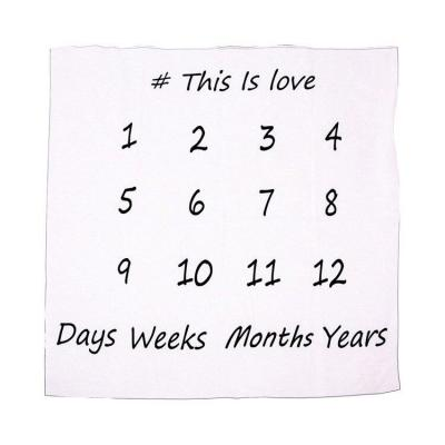 INS Hot Baby Milestone Blanket Newborn Swaddle Stroller Bedding Wrap Background Cloth Monthly Growth Number Photography Props