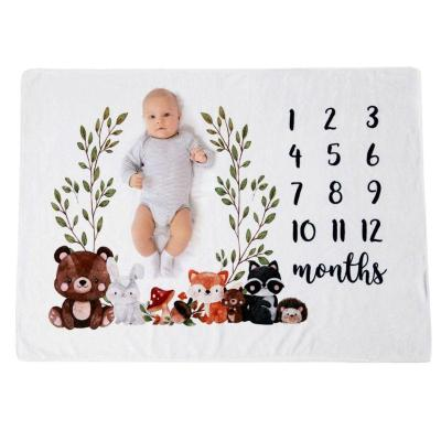 Baby Monthly Record Growth Milestone Blanket Newborn Cute Animal Pattern Cloth