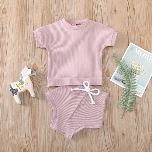 Casual Toddler Boy Clothes Summer Clothes Newborn Boy Clothing Set Solid Color Ribbed Knitted T-shirt+Shorts Suits