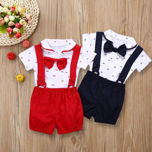 Boys Short Sleeve Romper + Toddler Pants Set Outfits 1PC romper + 1 short pants sets