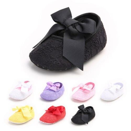Cute Babys Newborn Toddler Infant Kids Lace Bowknot Anti-Slip Shoes Soft Bottom Shoes Princess Cribe Shoes